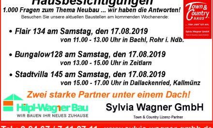 Einladung zu Hausbesichtigungen am kommenden Samstag, den 17. August 2019