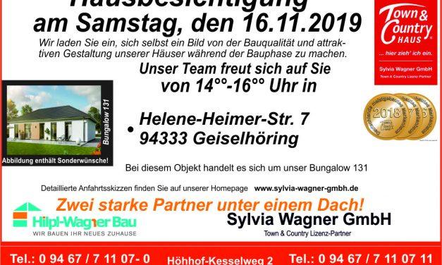 Wieder für Sie da! Hausbesichtigung am 16.11.2019 im Landkreis Straubing-Bogen, hier in Geiselhöring