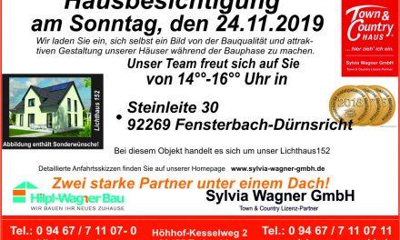Einladung zur Hausbesichtigung im Lkr. Schwandorf, Fensterbach-Dürnsricht am Sonntag, den 24.11. von 14:00 – 16:00 Uhr